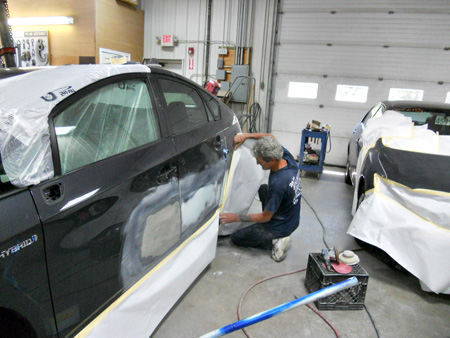 inside the new autobody shop at Pattersons